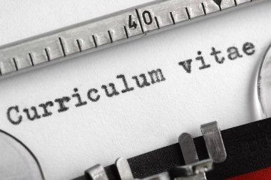 Curriculum vitae written on typewriter