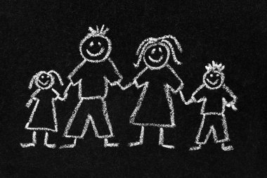 Chalk drawing of a family