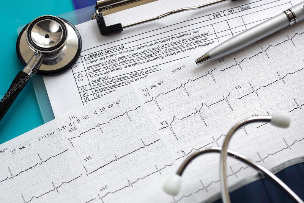 Cardiogram and stethoscope