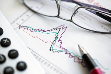Pen glasses and calculator on stock chart