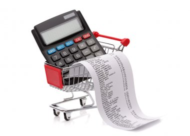 Shopping till receipt, calculator and cart
