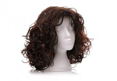 Wig on polystyrene mannequin foam head