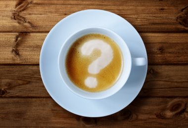 Coffee cup with question mark