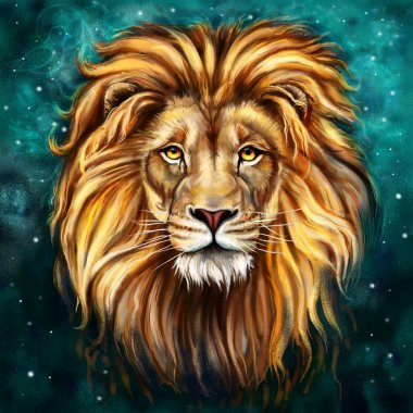 King lion Aslan digital painting stock vector