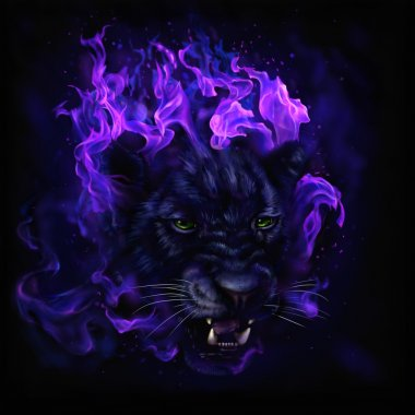 panther head in flames