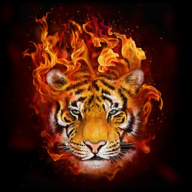 Head of a tiger in flames digital painting stock vector