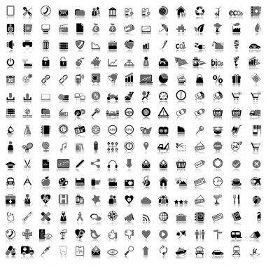 Set of black and gray icons