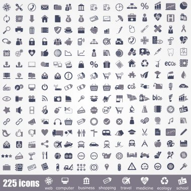 Icon set. Pictogram about internet, computer, school, travel, business, shopping, ecology and medicine. stock vector