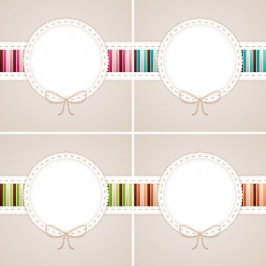 Sweet card set: pink, blue, green and orange