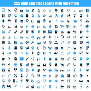 Set of black and blue icons with reflection. Travel, computer, business, ecology, shopping, automotive, web, school and medicine concepts. stock vector