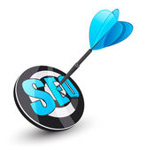 Photo Blue dart. Search engine optimization concept.
