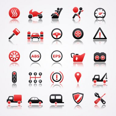 Automotive red icons with reflection.
