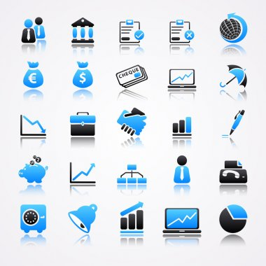 Blue business icons with reflection