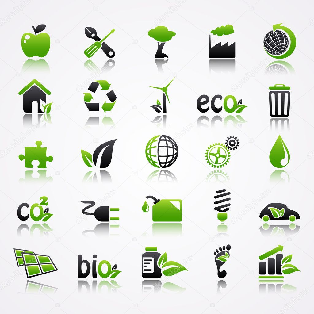Ecology icons with reflection.