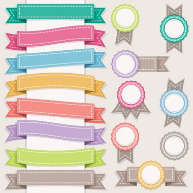 Set of ribbons and stamps.