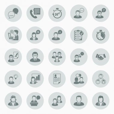 Icons about business people working in office