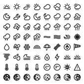das Wetter flach Symbole. schwarz
