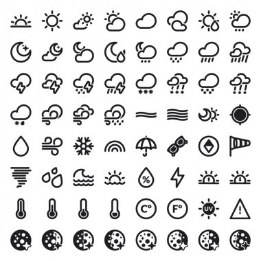 Set of flat icons about The Weather stock vector