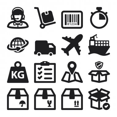 Shipping flat icons. Black