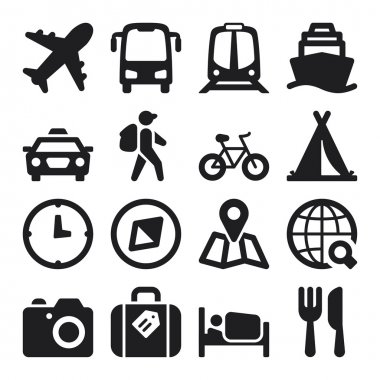 Travel flat icons. Black