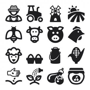 Farming flat icons. Black