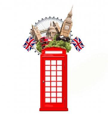 London, Britain, tourist collage