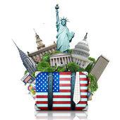 USA-ban, az usa tereptárgyak, a bőrönd és a new York-i