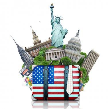 USA, landmarks USA, suitcase and New York travel stock vector