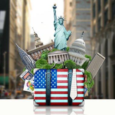 USA, landmarks USA, suitcase and New York