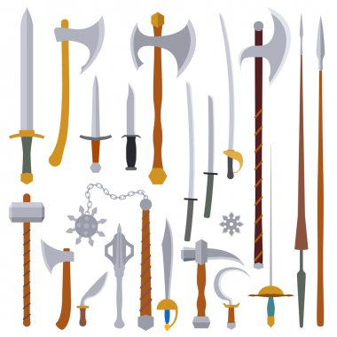 Flat design colors medieval weapon set