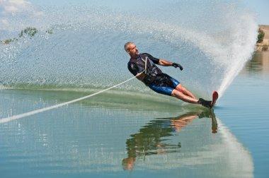 Mature Man Slalom Waterskiing