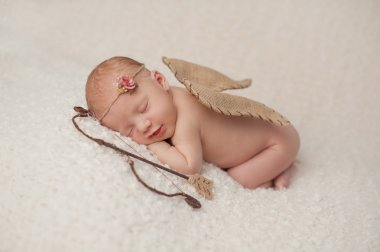 Newborn Baby Girl with Cupid Wings and Archery Set