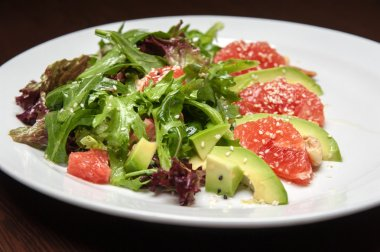 The menu photo - salad with avocado and grapefruit