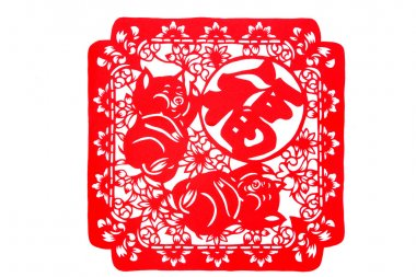Chinese paper-cut - both pig TOEFL