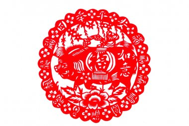 Chinese paper-cut - wishful blessing pigs, Four Seasons peace