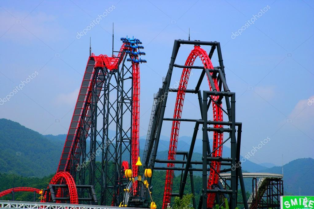 Fuji-Q Highland amusement park in Japan's famous high-speed roller coaster