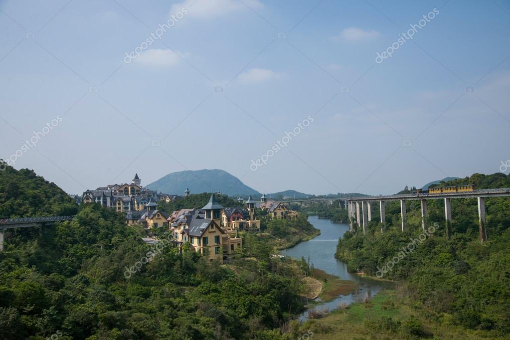 Shenzhen City, Guangdong Province, East Dameisha tea valley curved extension of the forests in the mountains train railway
