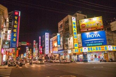 Taiwan's Chiayi City street shops in the mountain night
