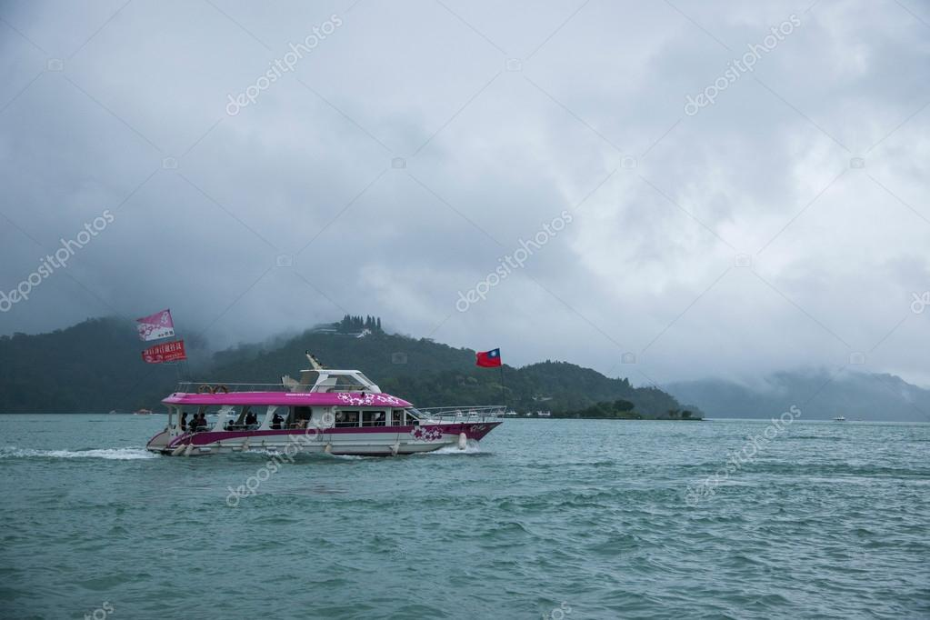 Sun Moon Lake in Nantou County, Taiwan on from the shuttle passenger yacht