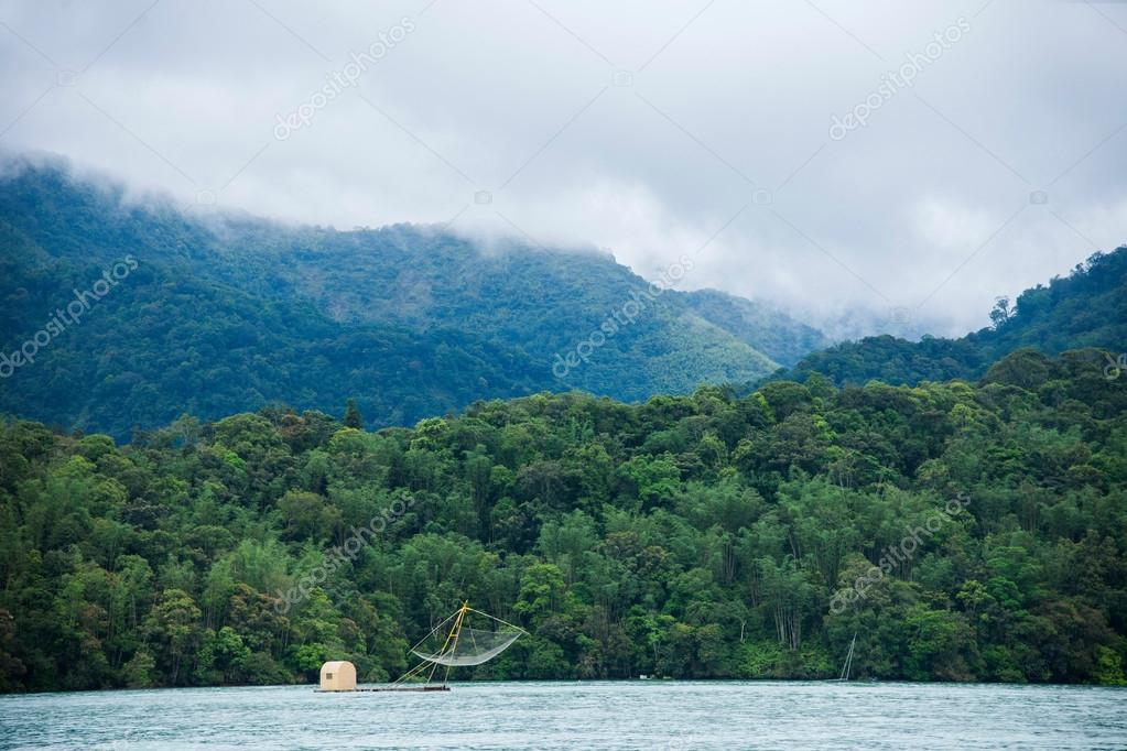 Sun Moon Lake in Nantou County, Taiwan fishing boat