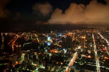 Night Kaohsiung and Kaohsiung District 85 building overlooking the Kaohsiung, Taiwan