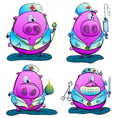 Pig Doctor. Vector Illustration