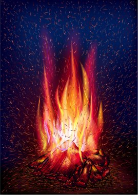Fire and flying sparks. Vector illustration, 10 eps