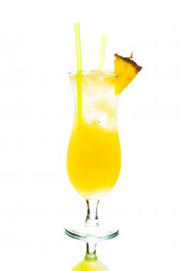 Colored cocktail on white background