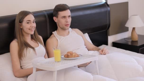 Having breakfast in a bed