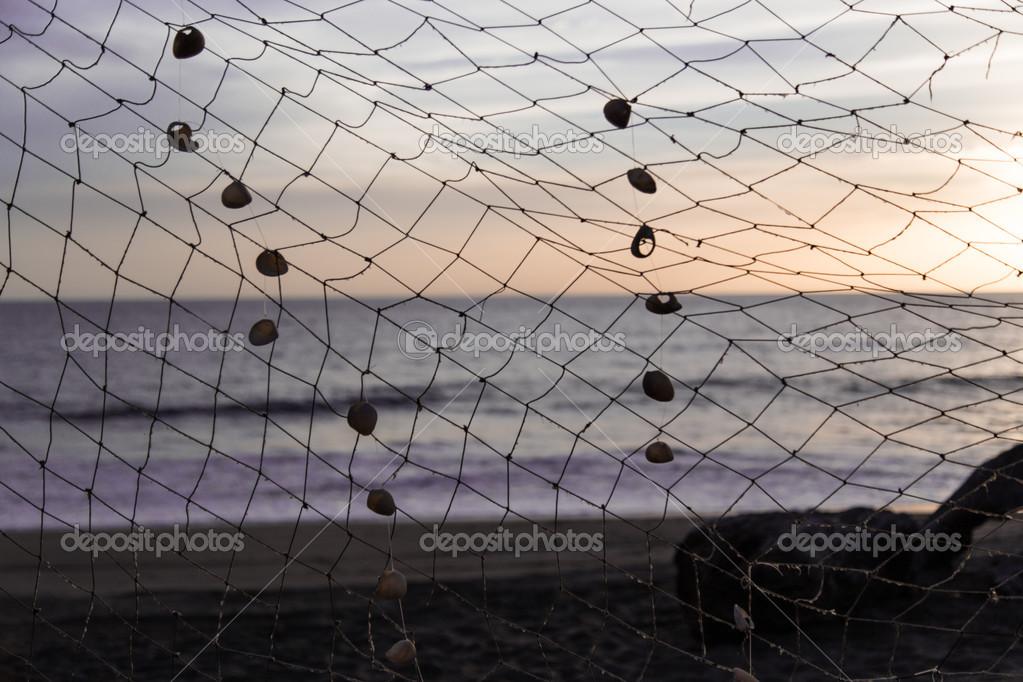 Fishing net in beach at sunshine
