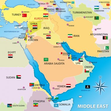 Middle east map with flags