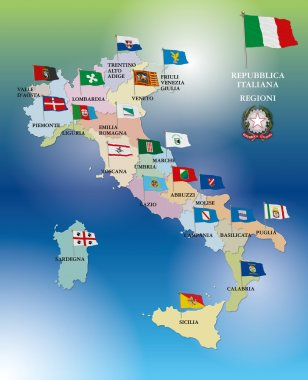 Italy, regional flags, map