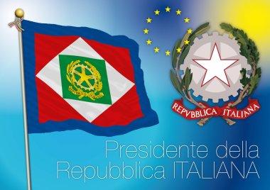 President of italian republic flag, italy