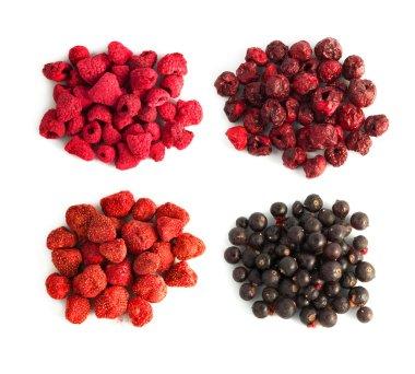Freeze-dried berries, blueberries, strawberries, raspberries, cherry isolated